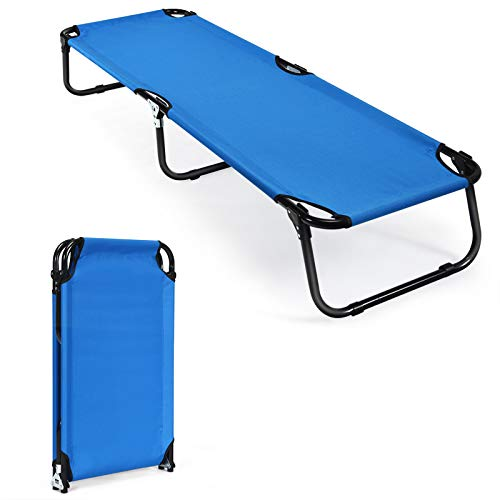 GYMAX Folding Camping Cot, Portable Indoor Outdoor Bed for Adults, Easy Set up Military Sleeping Cot for Travel Adventure Picnic Camping Hiking Patio Yard