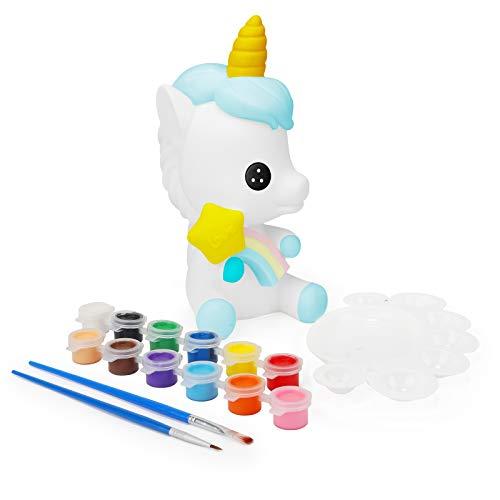 Ulikey Regalos para Niñas, Hucha Unicornio para Pintar, Juguete Pintura de DIY, Kit Pintura y Accesorios Infantiles, Pinceles, Colores y Paleta, Regalos para Niñas Cumpleaños y Fiestas