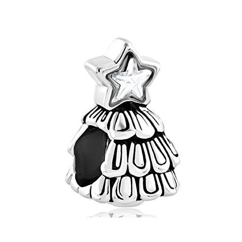 Korliya Christmas Tree Charm with White Crystal Bead for Bracelet