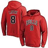 MAOMAOQUEENss Sudaderas con Capucha de Zach LaVine #8,#Bulls Pullover Uniforme de Baloncesto Fans Camisetas de Entrenamiento,sin Pelota,sin Deformación,Moda Casual,para Hombre y Mujer,Red-XL