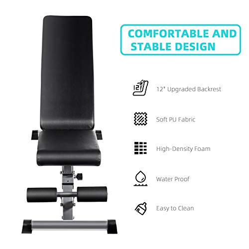 Adjustable Weight Bench, Utility Workout Bench for Home Strength Training, Flat Incline Decline Exercise Workout Bench for Home Gym