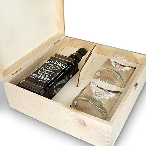 polar-effekt Whisky Geschenkset - 6-Teilig - Deutsche Herstellung - Jack Daniels No.7 Flasche - 2 Untersetzer - 2 Whiskygläser - personalisiert Motiv: Fass im Banner Titelbild