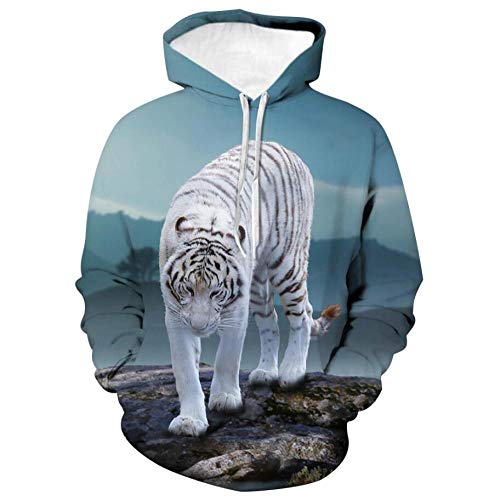 Mountain Forest White Tiger Sweater 3D Print Design Jumpers Pullovers Hoodie Sweatshirt Oversized Winter Autumn Long Sleeve Tops Men Women,XXL