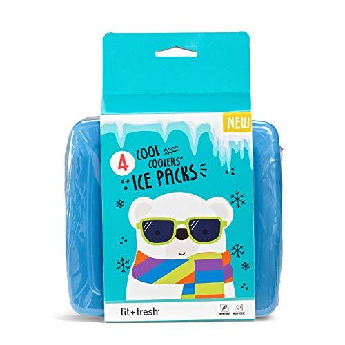 Fit & Fresh Cool Coolers Bolsa de Hielo Slim para el Amuerzo, Juego de 4, Multicolor