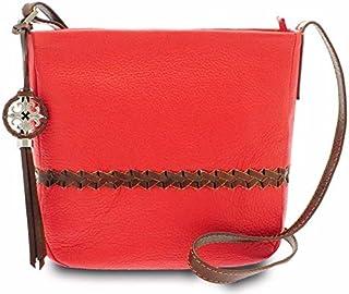 GIUDI ® - Borsa Donna in pelle vitello martellato, vera pelle, tracolla, Made in Italy. (Rosso chiaro/Marrone)