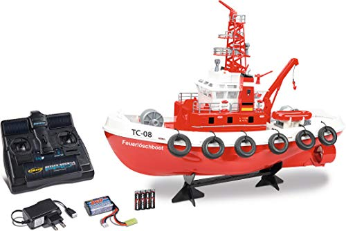 Carson RC-Feuerlöschboot TC-08 2.4G 100% RTR, Ferngesteuertes, Funktionen, Speed Boot, inklusive Fernsteuerung, Sicherheitsschaltung, 500108033, Rot