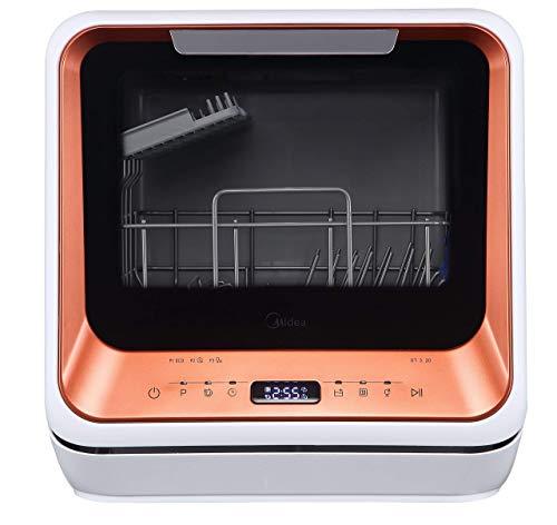 Midea ST 3.20N Mini-Geschirrspüler Tischgeschirrspüler, Spülmaschine für 2 Maßgedecke, funktioniert mit/ohne Wasseranschluss, 6 Reinigungsprogramme, Startzeitvorwahl, freistehend, Camping