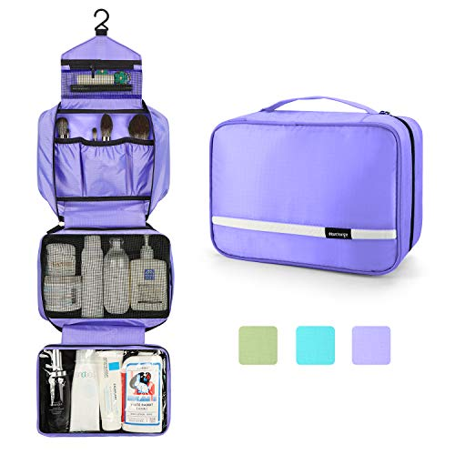 Travel Toiletry Bag for Women, Maliton Hanging Toiletry Bag with 4 Compartments, Portable and Waterproof Compact travel Bathroom Organizer,Ideal for Travel or Daily Life.(Purple)