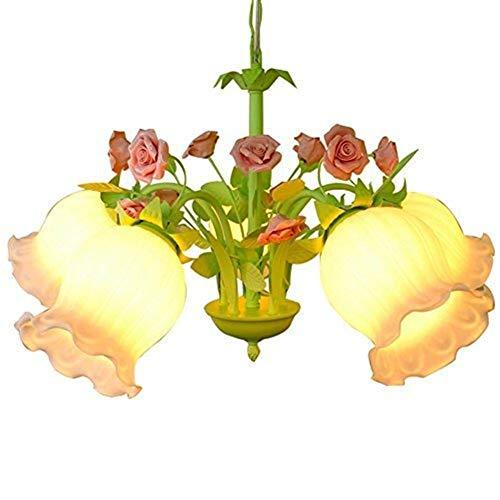 WY-YAN Luces pendientes, Rosa retro de la flor dormitorio de la lámpara, la lámpara de Flower Shop, Cafetería Tienda de ropa lámpara de cristal, cadena de longitud ajustable Personalidad vivo creativo