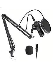 BINDEN Kit de Microfono Condensador 320S Micrófono con Soporte de Brazo Filtro AntiPop y Funda para Viento Microphone con Cable XLR Micrófono de Estudio Profesional para Podcast Streaming Grabación, Aleación de Aluminio