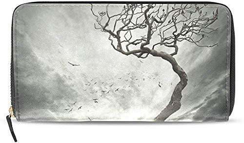 Keyboard cover Cartera de piel con cremallera y tarjetero para mujer, diseño de árbol, U0026 One_color. Talla única