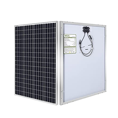 HQST 100W 12V Monocrystalline Solar Panel, 32.5 x 26.4 x 1.18 inch, High Efficiency Module PV Power for Battery Charging Boat, Caravan, RV and Any Other Off Grid Applications