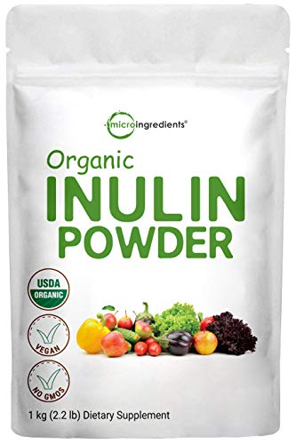 Organic Inulin FOS Powder (Jerusalem Artichoke), 2.2 Pounds (35 Ounce), Inulin for Baking, Prebiotic Intestinal Support, Colon and Gut Health, Natural Water Soluble Fibers for Smoothie & Drinks, Vegan