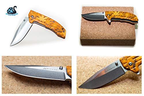 Eva Shop® Premium Black Ice Einhandmesser Ace orange Taschenmesser kompaktes Klappmesser Outdoor Survival Messer mit 9 cm Edelstahlklinge - Ideal für Freizeit, Arbeit, Wandern, Camping, Jagd UVM.