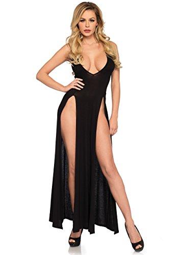 Leg Avenue Women's Deep-V Dual Slit Jersey Maxi Long Nightgown Dress, black, SMALL