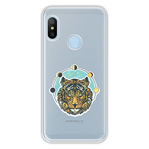 Hapdey Funda rígida para [ Xiaomi Mi A2 Lite - Redmi 6 Pro ] diseño [ Tigre, Mirando ] Carcasa TPU, Transparente