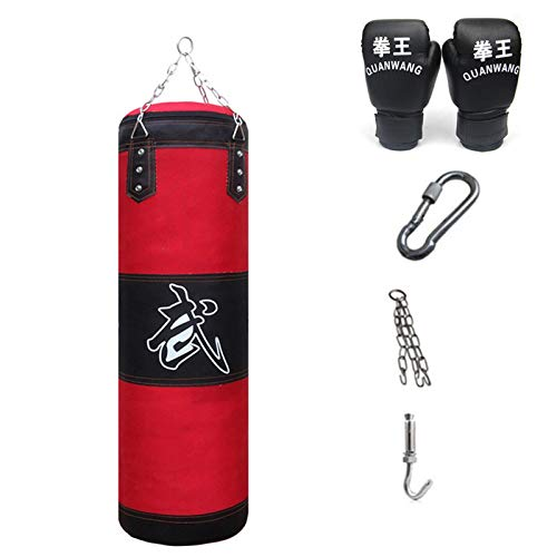 21Grams Boxsack-Set mit Abnehmbaren Ketten Boxhandschuhe für Boxtraining Sanda Muay Thai Karate Kampfsport Taekwondo UFC Kickboxing MMA Rot 120CM