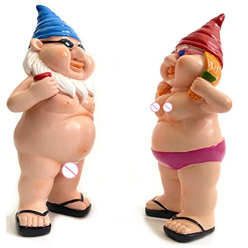 Him and Her Naturist Gnome Couple