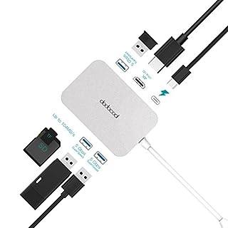 7-in-1 USB-C Hub - Estendere una porta di ricarica USB Power Delivery tipo C, una porta di output HD, tre porte SuperSpeed USB 3.0, uno slot SD memory card e uno slot per schede di memoria TF da una porta Thunderbolt (USB-3C) o USB-C. USB 3.0 superSp...