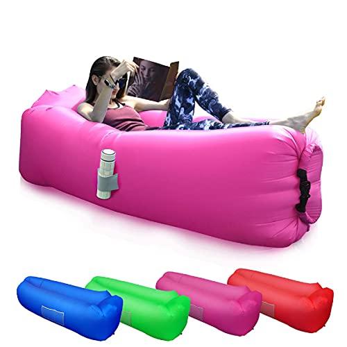 BACKTURE Aufblasbares Sofa, Aufblasbarer Lounger mit bequemen Kissen, Tragbares Luft Sofa, Luft Couch, für Camping, Urlaub, Wandern(Lila)