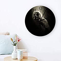 Silent Non-Ticking Round Wooden Wall Clock Forest Animal Owl Black and White Quartz Battery Operated Easy to Read Wall Clock for Bedroom Kitchen Office, 12 Inch