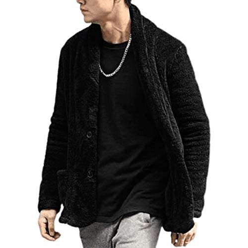 Mens Fluffy Sweaters Winter Warm Fleece Cardigan Long Sleeve Buttons Plush Lightweight Coat Jacket with Pockets (Black, TAG XXL)