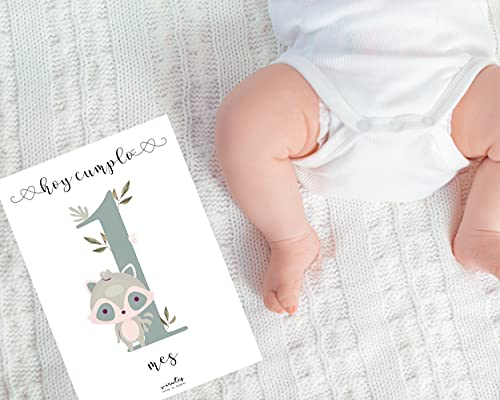 Láminas impresas CUMPLE MES, Lámina para celebrar el cumple mes, Recuerdo de crecimiento, Disponible en varios idiomas