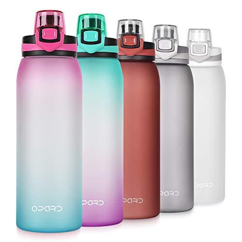 Opard Trinkflasche Sport 900ml -Wasserflasche aus Tritan BPA-Frei, Auslaufsicher Sportflasche für Kinder, Sport, Fitness, Fahrrad, Fußball, Outdoor (Rosa & Cyan)