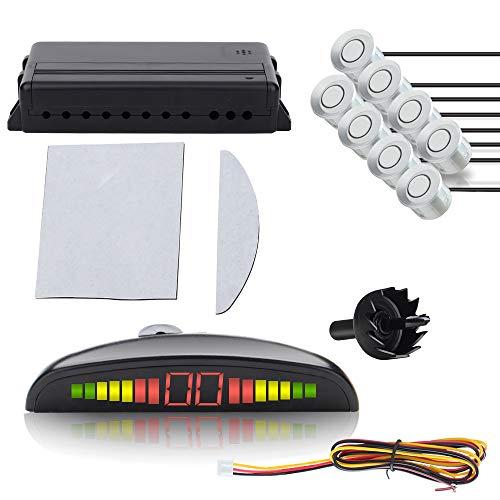 VINGO Einparkhilfe Parkhilfe 8 Sensoren Parkassistent Rückfahrsystem mit LED Display in Silber