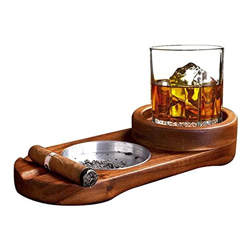 Cenicero de cigarros, Bandeja de Cristal de Whisky y Soporte de cigarros, cenicero de cigarro de Dos en uno, Ranura para cigarros, Soporte de cigarros, Conjunto de Accesorios de cigarros