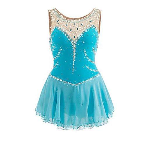 LWQ Eiskunstlauf-Kleid-Frauen-Mädchen Eislaufen Kleid Lightblue Spandex Elastan Wettbewerb Skating Wear Handgemachte Jeweled,Child 10