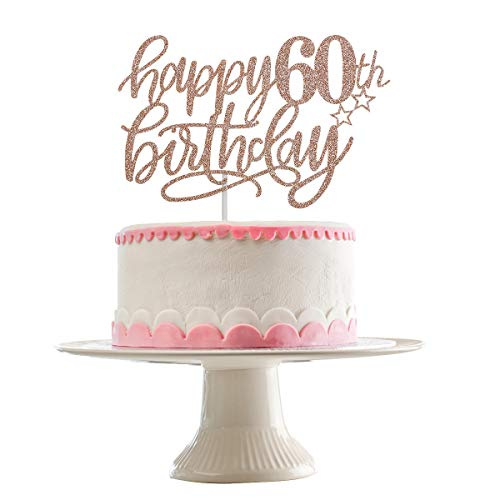 Happy 60th Birthday Cake Topper- Rose Gold Glitter, 60th Birthday Cake Toppers for Women, 60th Birthday Rose Gold Cake Topper, 60th Birthday Topper, 60 & Fabulous Party Decorations