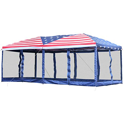 Outsunny 10' x 20' Pop Up Party Tent Gazebo Wedding Canopy with Removable Mesh Sidewalls - American Flag Print
