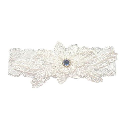 Worsendy Liga elástica de,Liga para boda,Jarretera cinturón con encaje de marfil, accesorio para novias