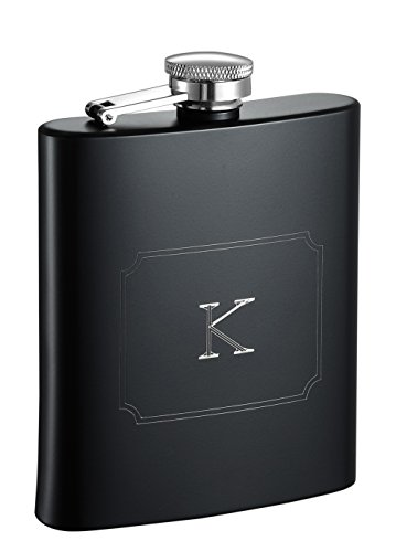 Visol Raven Personalized Flask with Initial Engraved, Monogram K, Black