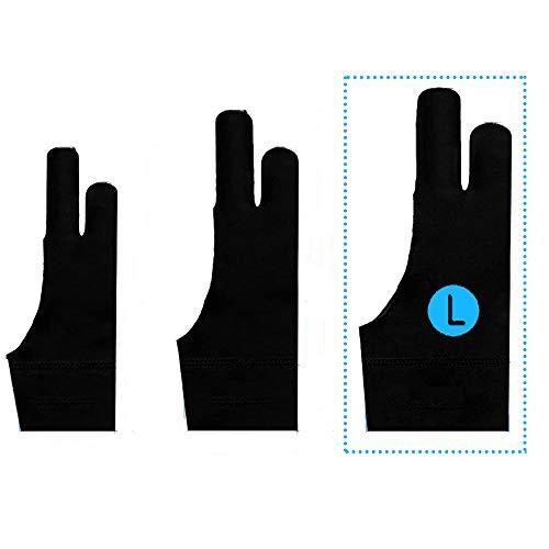 TNTOR Elastisch Antifouling Handschuh, Zwei-Finger-Handschuh für Grafiktablett Light Box Tracing Light Pad, Tablet Zeichenhandschuh Geeignet für Rechts und Links (L)