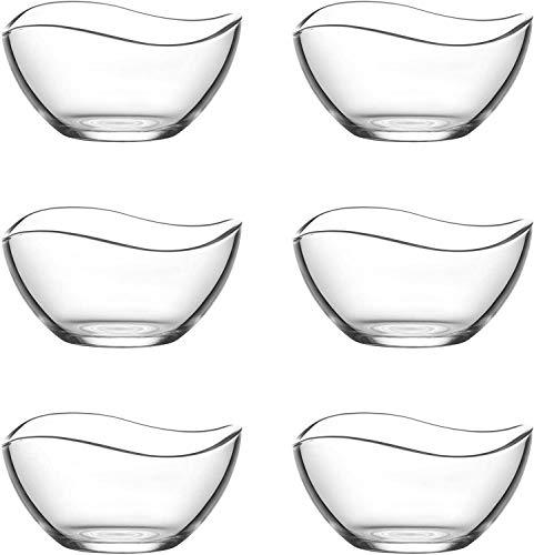 Lav Lot de 6 saladiers en verre 310 ml, bol petit dejeuner, saladier verre, coupe a glace, bol en verre, snacks