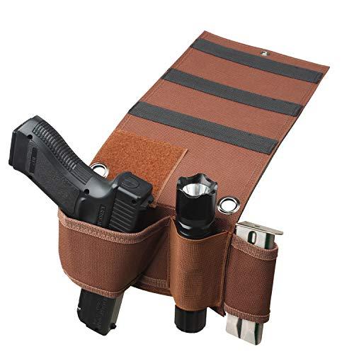 Tactical Adjustable Under Mattress Bed Seat Vehicle Car Pistol Handgun Gun Holster Holder Universal with Tactical Flashlight Loop (Brown)