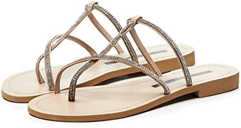 MENGLTX High Heels Sandalen Frauen Mode Sandalen Leder Casual Sandalen Strass Dekoration Concise Hausschuhe Sommer Prom Party Schuhe Frau