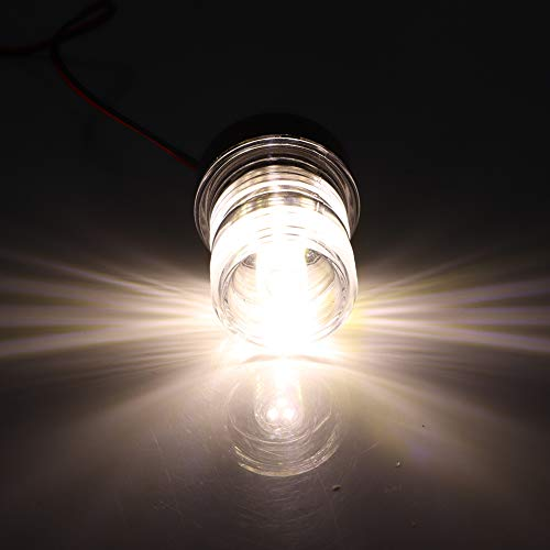 Akozon Signal Lamp Sailing Signal Light LED Waterproof Boat Marine Navigation Anchor Light 360° 12V White for Yachts Skeeter Fishing Boats Speed Boats