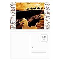 絹の道地図ラクダへの道に沿って砂漠 公式ポストカードセットサンクスカード郵送側20個