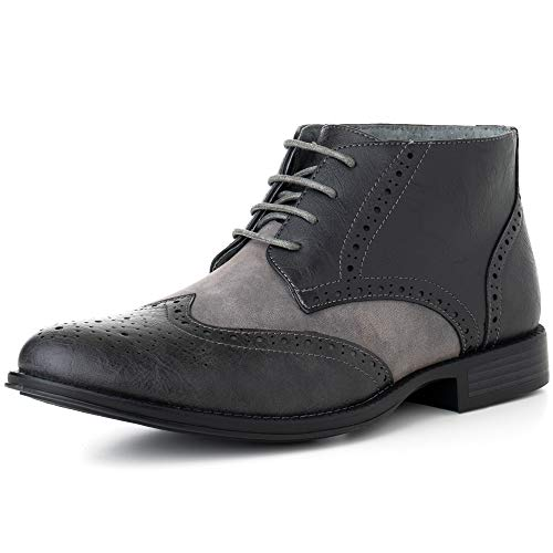 Alpine Swiss Geneva Men's Ankle Boots Brogue Wing Tip Dress Shoes Gray 13 M US