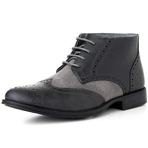 Alpine Swiss Geneva Men's Ankle Boots Brogue Wing Tip Dress Shoes Gray 13 M US