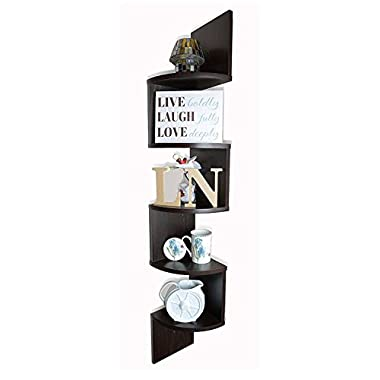 Adorn Home Essentials Corner Zig Zag Wall Mount Shelves| 5-Tier, Walnut Finish