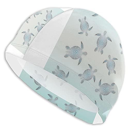 IUBBKI Gorras de natación para cabello largo Tortugas de plata estilo playa sombreros de natación señoras gorras de natación mujeres hombres adultos gorro de natación