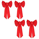VOSAREA 4 pcs Christmas Red Bow Ornament Lint Bowknot Xmas Tree Decor for Home Party Indoor Outdoor Wreath Door Holiday