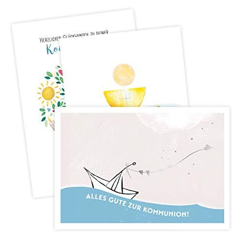 Karte zur Kommunion, Erstkommunion 3er Set   Kommunionkarte, Set mit 3 Verschiedenen Motiven   Als Glückwunsch, Gutschein oder Geldgeschenke Verpackung