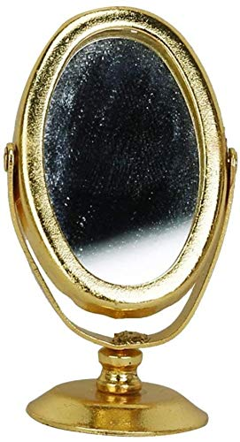 hsj 12.01 Puppenhaus Schlafzimmer Schminktisch Miniatur Ständer Spiegel - Goldene Exquisite Verarbeitung