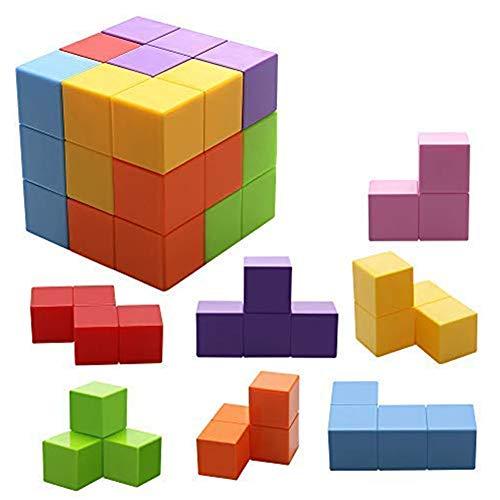 WXXW Magnetic Magnetic Cube Block Spielzeug Magic Kubes 3D Magnetic Tetris Puzzle Rätsel Antistress Spielzeug für Kinder Square Magnetic Bricks IQ-Probespiel für Erwachsene,Color