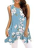 Viracy Womens Summer Sleeveless Tunics Loose Pleated Tops with Handkerchief Hem (Small, 04-Sky Blue)